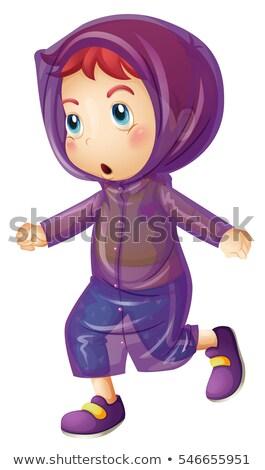 Kislány visel lila esőkabát illusztráció gyermek Stock fotó © colematt