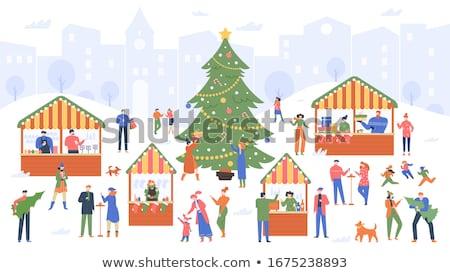 Christmas marktplaats mensen kopen straat winkels Stockfoto © robuart