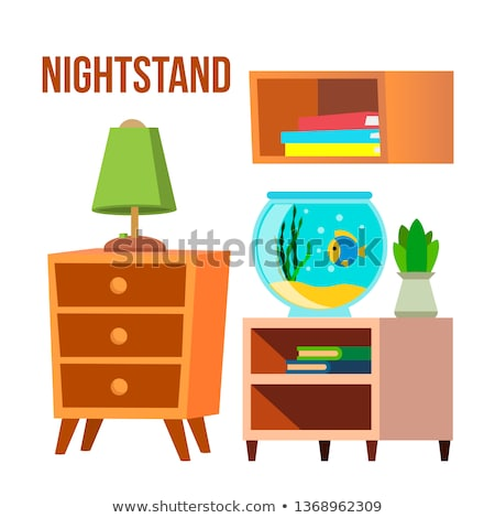 Nightstand, Bedside Tables, Desks Cartoon Vector Set Stock photo © pikepicture