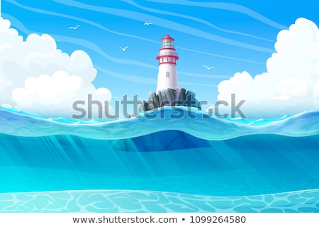 vector cartoon lighthouse sea clipart stockfoto © vetrakori