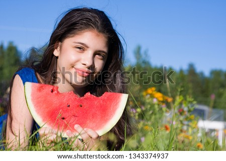 Stock fotó: Teenage Girls Eating Watermelon At Picnic In Park