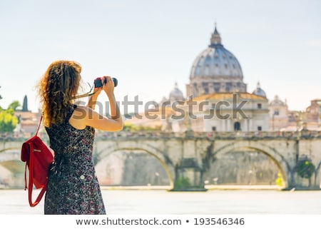 Сток-фото: Woman Taking Photos Of St Peters Basilica
