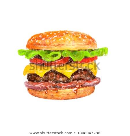 Groot hamburger cheeseburger fast food hamburger snack Stockfoto © robuart