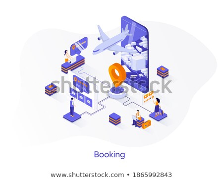 Online flight booking banner design, flat style illustration Stock photo © shai_halud