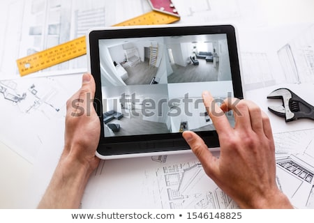 Tablet strumenti griglia schermo famiglia home Foto d'archivio © ra2studio