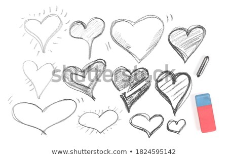 Black messy hatching in heart shape, freehand doodling Stock photo © evgeny89
