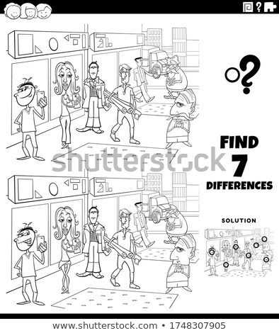 differences task with cartoon people coloring book page Stock photo © izakowski