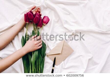кровать · цветы · фотография · Sweet · пару - Сток-фото © dolgachov