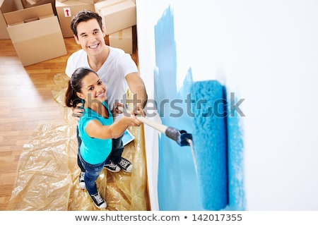 Domestic room with paintbrush and a paint Stock photo © zzve