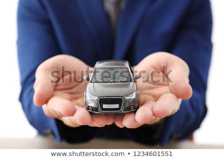 manos · rueda · coche · nuevo · sala · de · exposición · nina - foto stock © a2bb5s