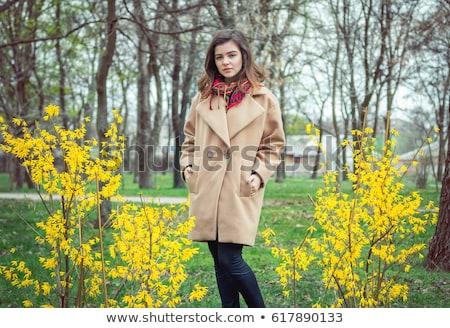 美少女 着用 コート 黒 レギンス 孤立した ストックフォト © acidgrey