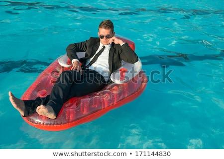 Foto stock: Empresário · relaxante · piscina · terno · céu · azul