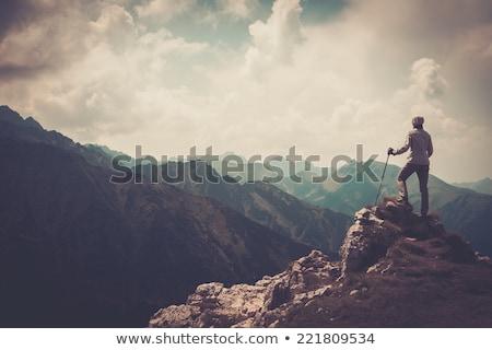 fiatal · nő · fut · kirándulás · hegyek · erő · napos - stock fotó © val_th