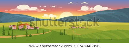 Toscano aldeia madrugada italiano toscana paisagem Foto stock © italianestro