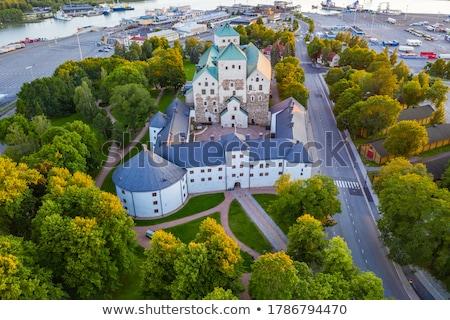 Történelmi kastély Finnország középkori késő nyár Stock fotó © tainasohlman
