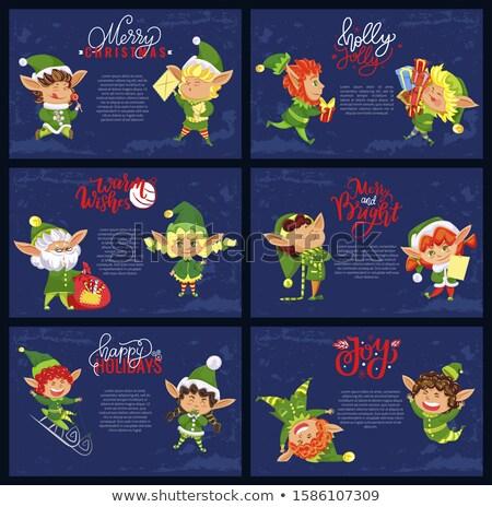 Verde enano escalera Cartoon ilustración Foto stock © derocz