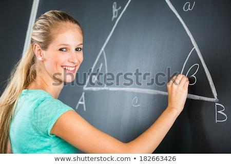 Bastante jóvenes elemental maestro escrito matemáticas Foto stock © lightpoet