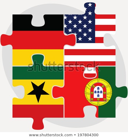 Stock photo: German, USA, Ghanaian and Portuguese Flags in puzzle isolated on