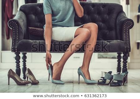 mooie · vrouw · poseren · Geel · interieur · kamer - stockfoto © nyul