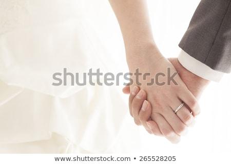 bruiloft · dag · bruid · bruidegom · holding · handen · meisje - stockfoto © sfinks