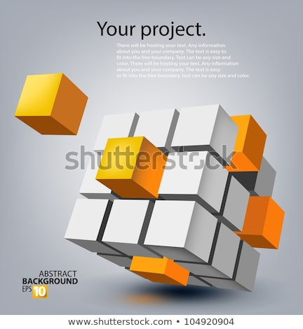 a orange cubes abstract background, 3d Illustration stock photo © teerawit
