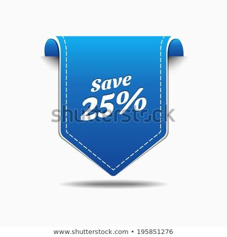 Mentés 25 százalék kék vektor ikon Stock fotó © rizwanali3d