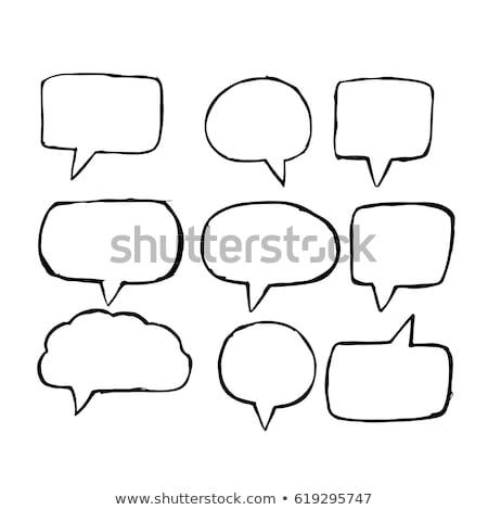 Szövegbuborék kézzel rajzolt üzlet kéz művészet űr Stock fotó © kiddaikiddee