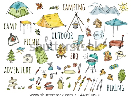 hand drawn colored camping adventure set doodle elements stock photo © netkov1