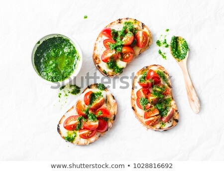 Torrado pesto pão queijo comida prato Foto stock © Digifoodstock