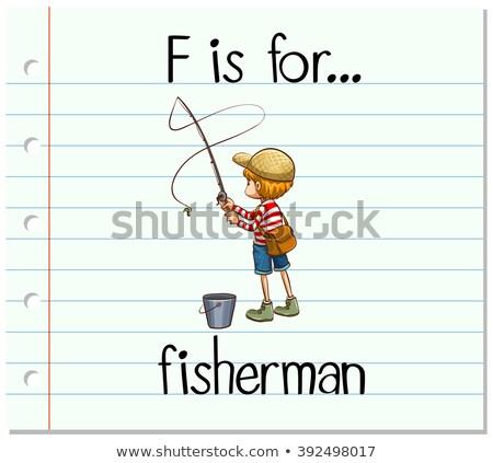 Alfabeto pescador ilustração criança fundo arte Foto stock © bluering