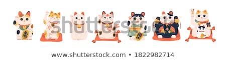 Macska szépség játék retro ajándék fehér Stock fotó © Serg64