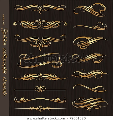 golden ornamental elements for design and page decoration stock photo © blue-pen