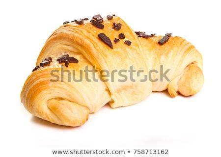 Csokoládé chip croissantok három ropogós tányér Stock fotó © Digifoodstock