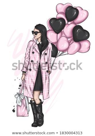 Menina casaco rua jovem belo menina feliz Foto stock © tekso