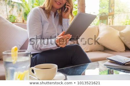 Iş villa kadın toplantı gülen oturma Stok fotoğraf © IS2