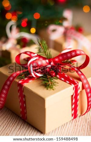 Stok fotoğraf: Noel · hediye · kutusu · mumlar · şube · kapalı