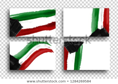 Kuwait garland flag with confetti on transparent background, Hang bunting for celebration template b Stock photo © olehsvetiukha