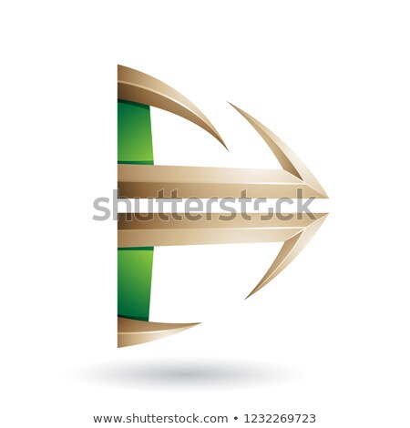 Green and Beige Glossy Embossed Arrow Shape Vector Illustration Stock photo © cidepix