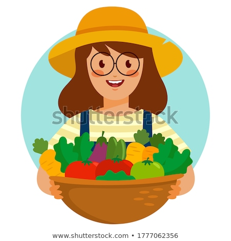 Organic Farmer Holding Plant Mascot Stock photo © patrimonio