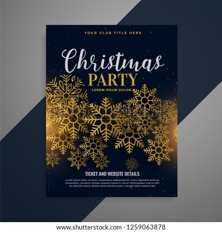 Klassz karácsony szórólap brosúra arany hópelyhek Stock fotó © SArts
