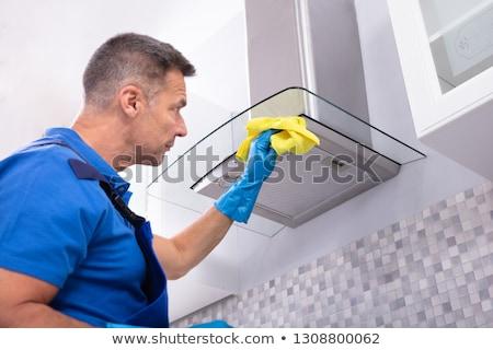 Masculina limpieza servilleta detergente maduro Foto stock © AndreyPopov