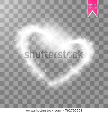 Gyönyörű szívek izzó fehér hullám absztrakt Stock fotó © SArts
