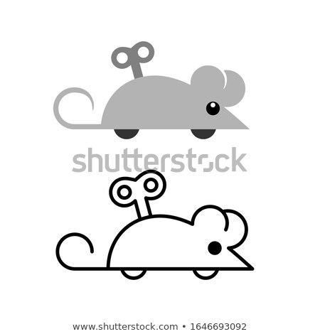 Clockwork mouse with key isolated on white background. Vector cartoon close-up illustration. Stock photo © Lady-Luck