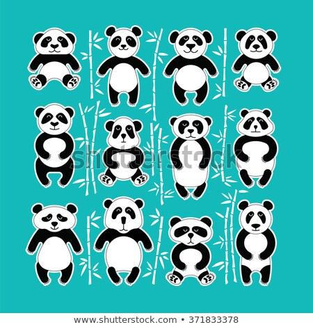 Conjunto animal bambu floresta ilustração árvore Foto stock © colematt