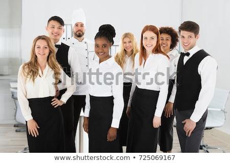 Grup mutlu otel ayakta kadın siyah Stok fotoğraf © wavebreak_media