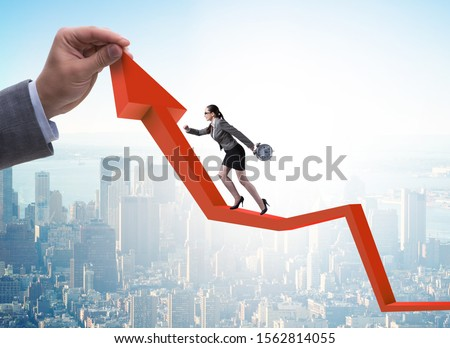 Businesswoman climbing line chart in economic recovery concept Stock photo © Elnur