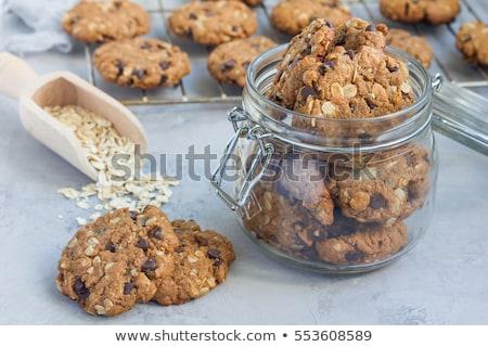オートミール クッキー ガラス jarファイル クローズアップ 写真 ストックフォト © olira