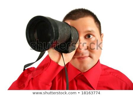 não · ver · homem · vermelho · camisas · mão - foto stock © paha_l