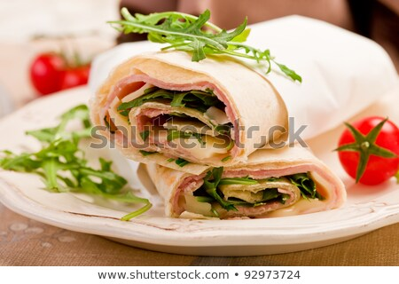 Tortillas With Bacon And Arugula Salad Stock fotó © Francesco83