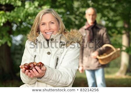 Paar kastanje vrouw tuin Stockfoto © photography33